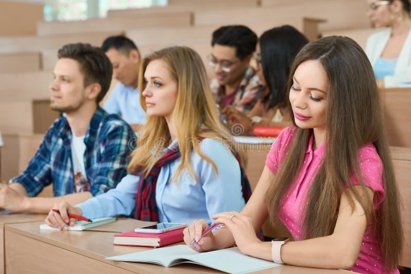 Studenti che si siedono sugli scrittori di legno in aula fotografia stock