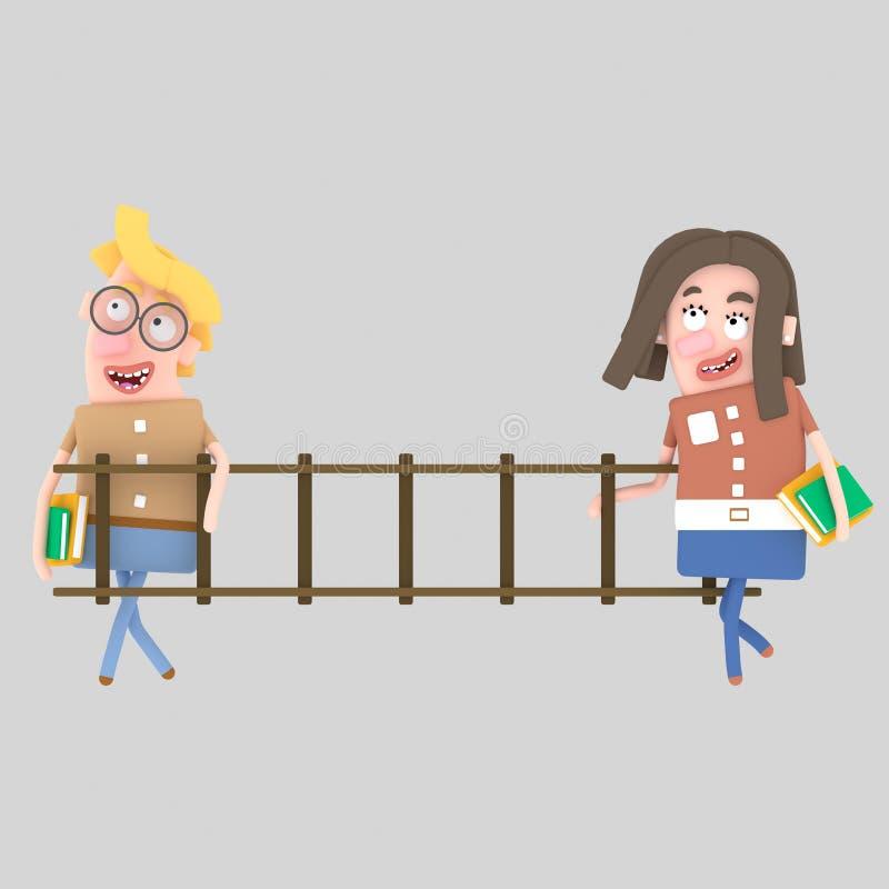 Studenti che tengono una scala di legno royalty illustrazione gratis