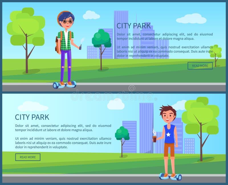 Studenti del parco della città nel vettore dell'insieme dei manifesti della città illustrazione vettoriale