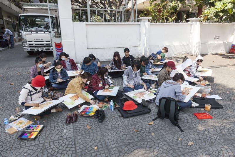 Studenti di arte immagine stock libera da diritti