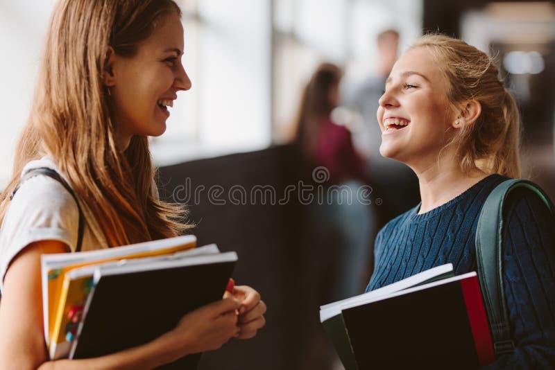 Studenti di college che chiacchierano nel corridoio fotografia stock