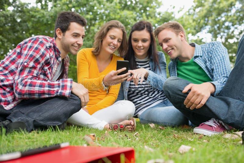 Studenti di college felici che esaminano telefono cellulare in parco fotografia stock