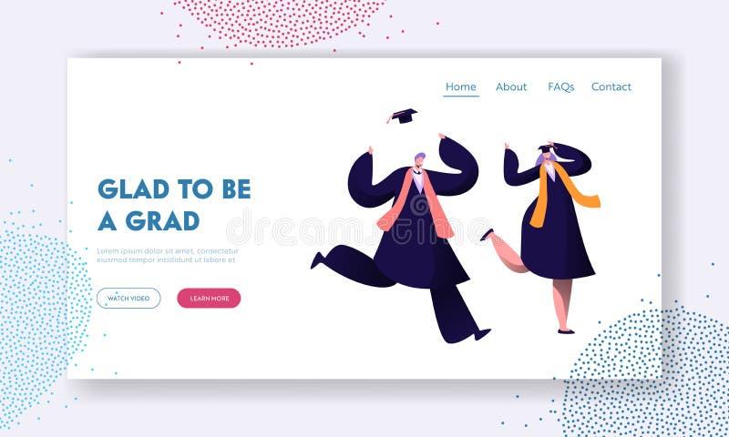 Studenti felici che celebrano graduazione, conclusione di istruzione Uomo allegro e donna in abito accademico nella risata accade illustrazione vettoriale