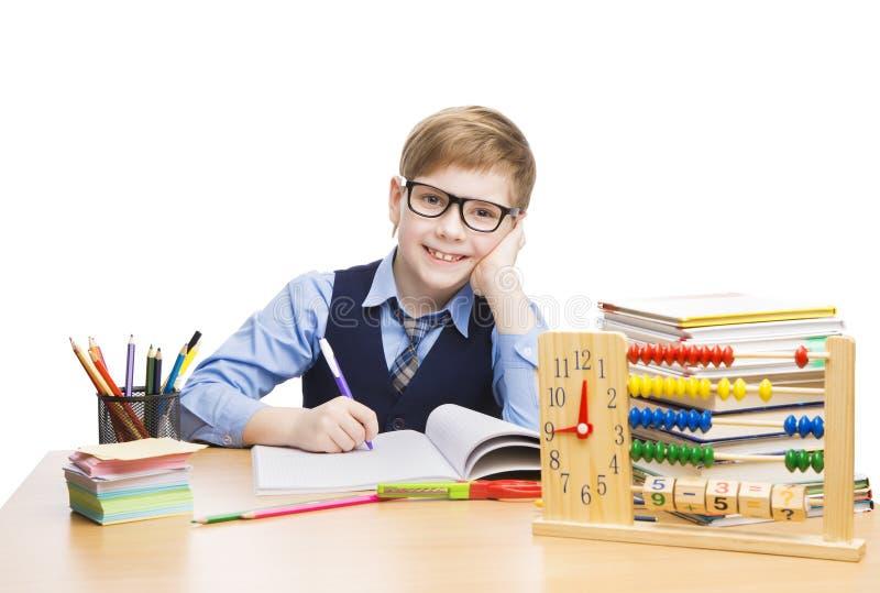 Studenti istruzione, ragazzo in vetri, bambino dello scolaro dell'allievo fotografia stock