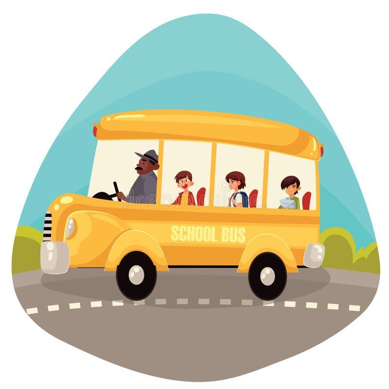 Studenti primari felici che guidano scuolabus illustrazione vettoriale