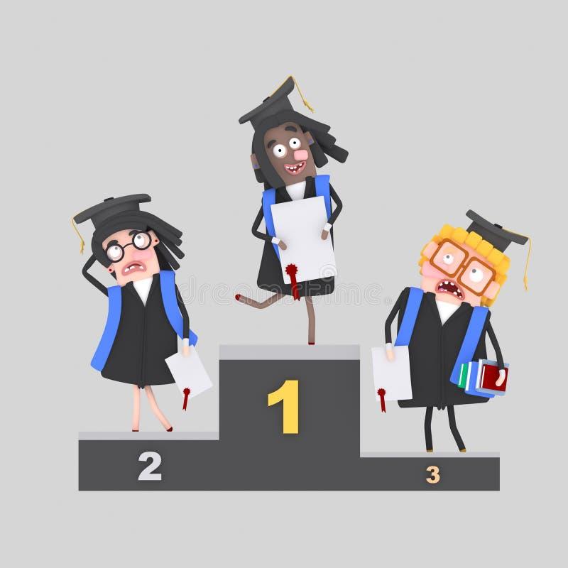 Studenti sul podio dei vincitori illustrazione di stock