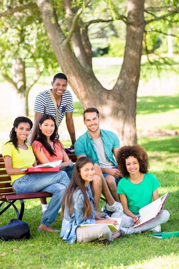Studenti universitari che studiano alla città universitaria fotografia stock