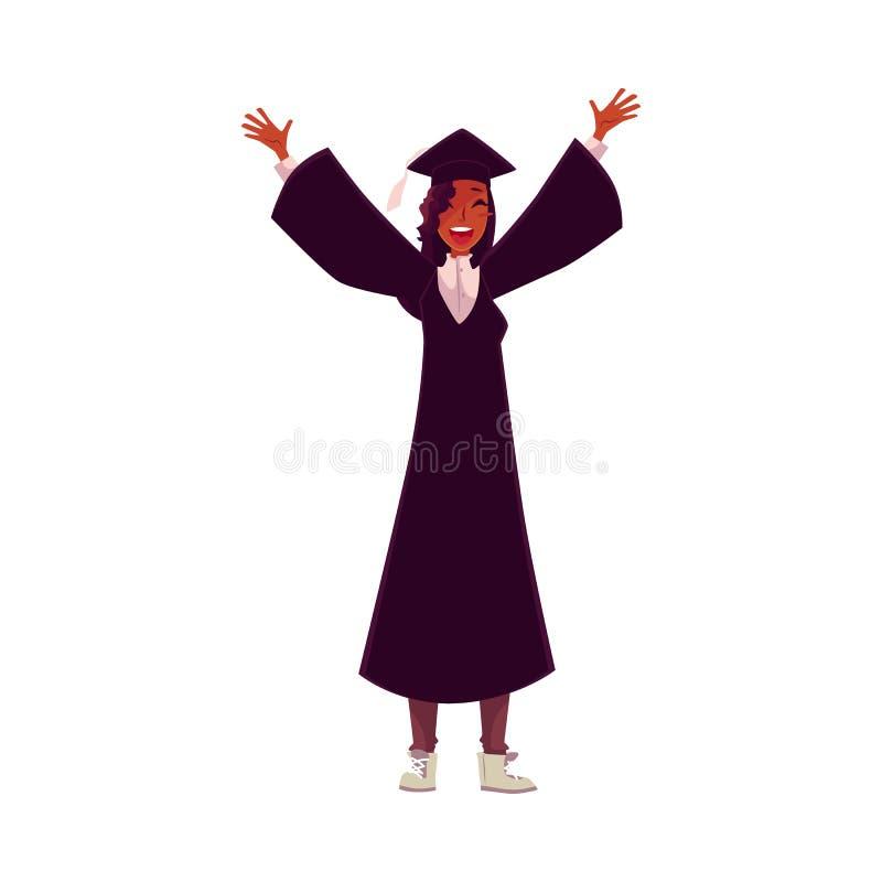 Studentin in der traditionellen Kappe und im Kleid erfolgreiche Staffelung feiernd lizenzfreie abbildung