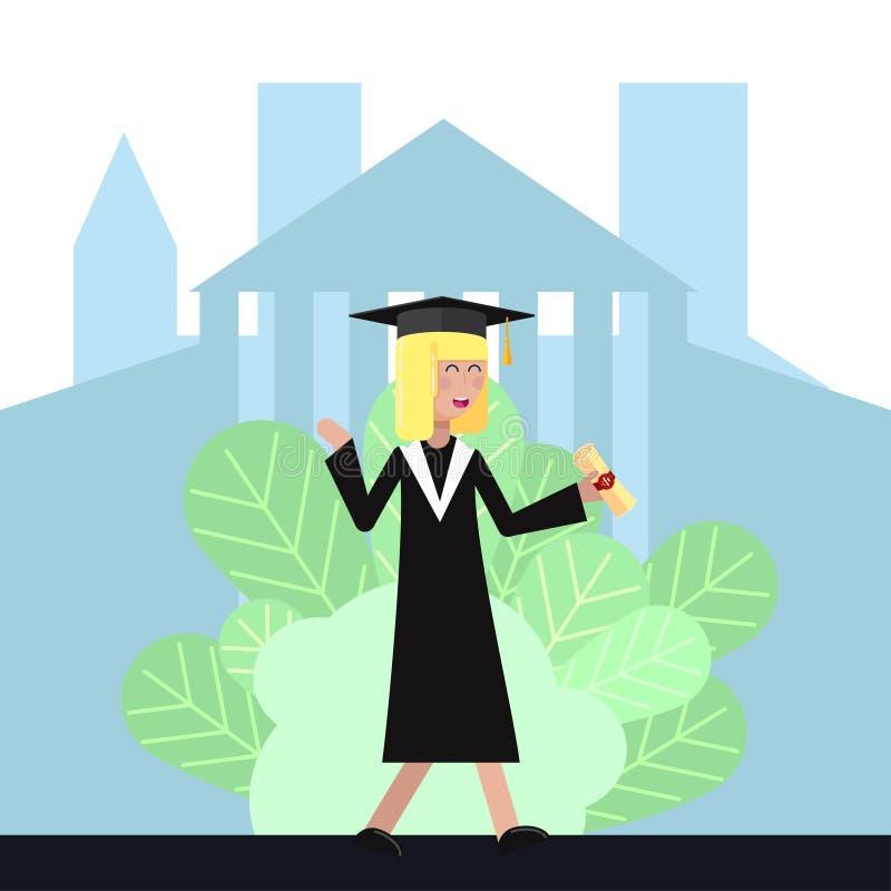 Studentin im akademischen Kleid und in der Kappe empfing ein Diplom und freut sich flache Illustration des Vektors lizenzfreie abbildung