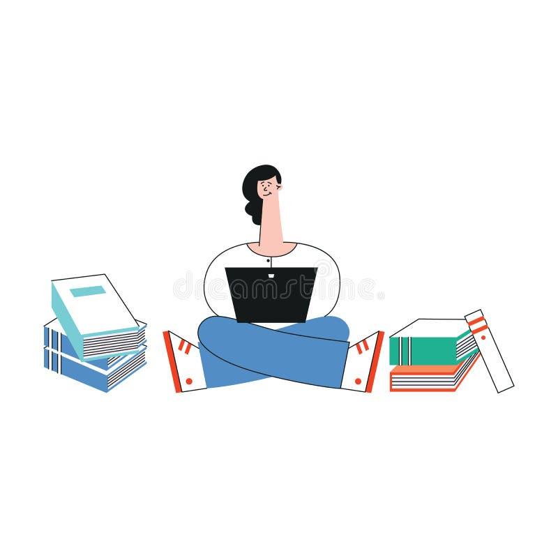Studentinbeine des Vektors kreuzten glückliche jugendlich Laptop lizenzfreie abbildung