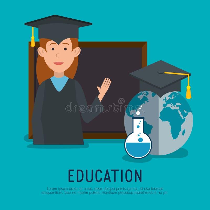 Studentinstaffelung mit Tafel stock abbildung