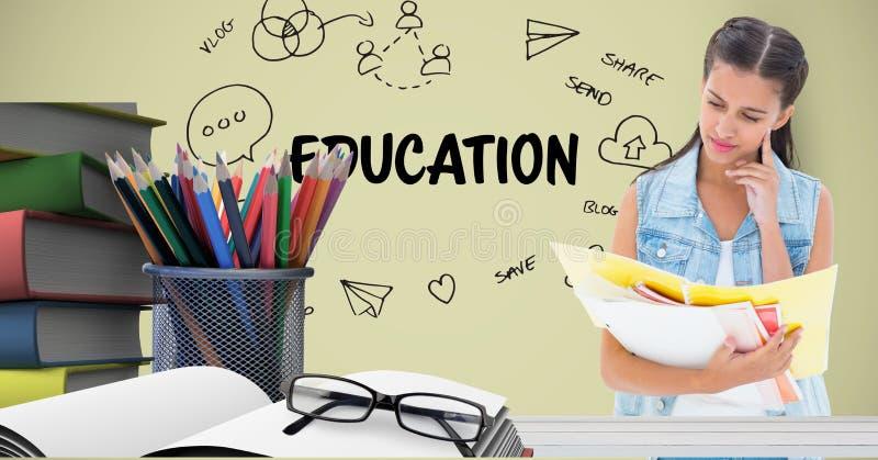 Studentläsebok på tabellen mot diagram stock illustrationer