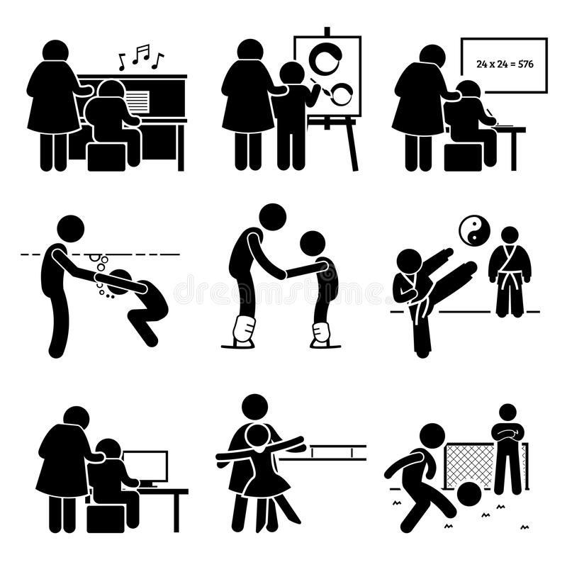 StudentLearning Various Knowledge Pictogram Clipart stock illustrationer