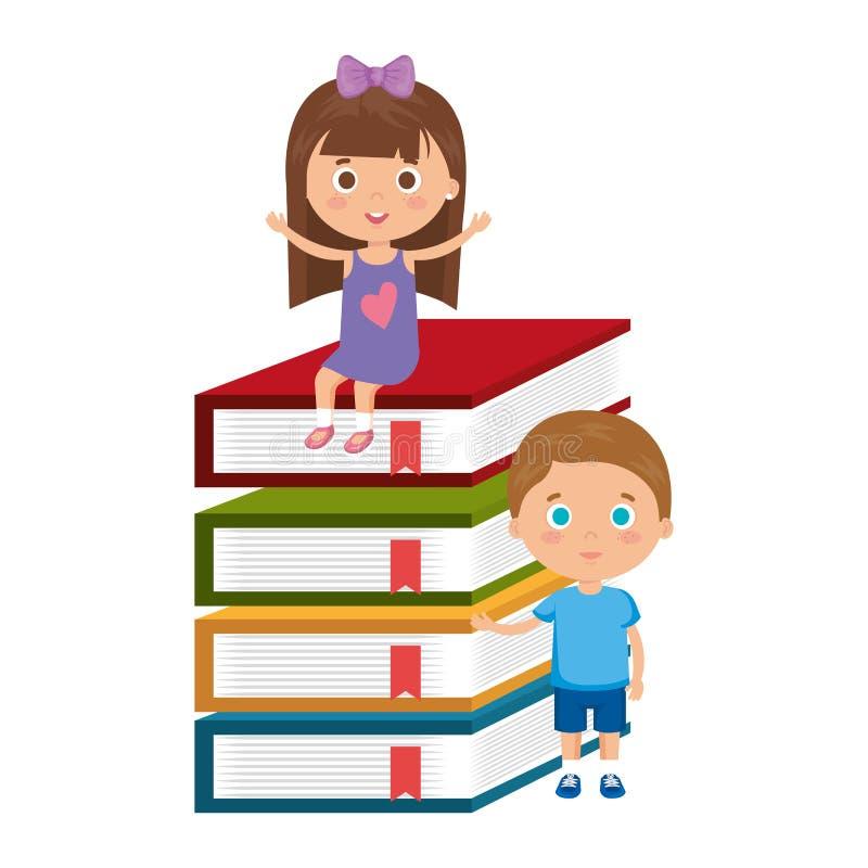 Studentpar för små ungar med böcker royaltyfri illustrationer