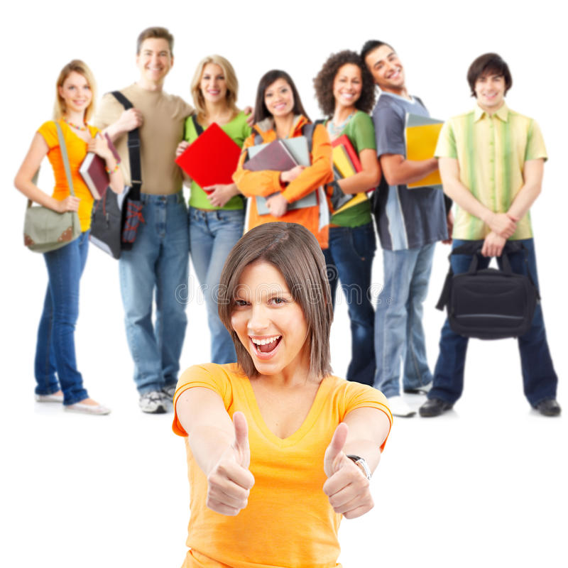 Students. Large group of smiling students. Isolated over white background