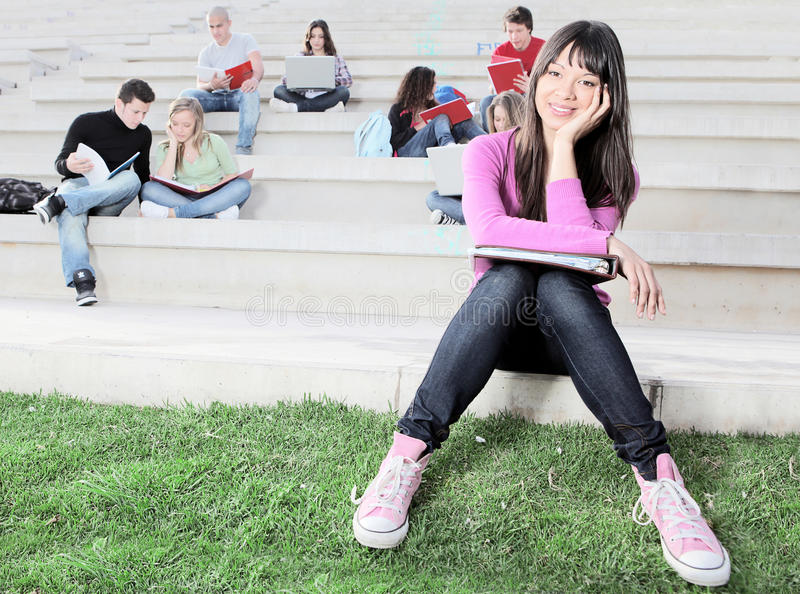Students. Group of teenagers students at campus at college school or university stock photo
