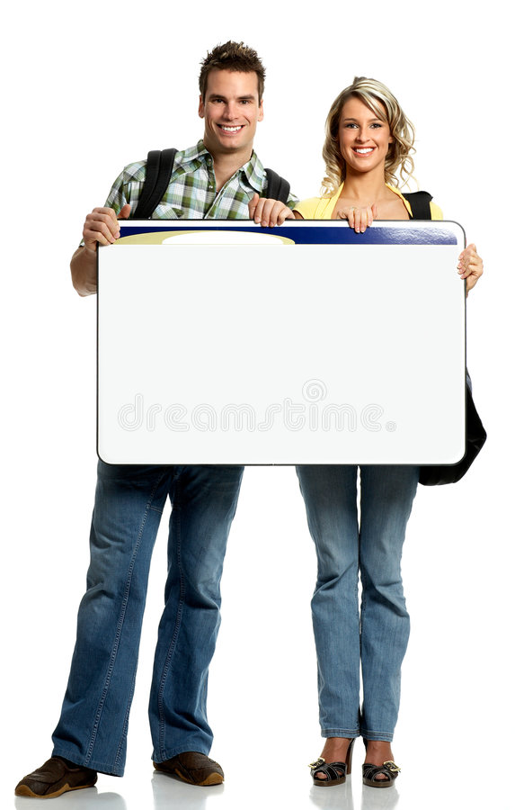Students. Young smiling students with placard. Over white background