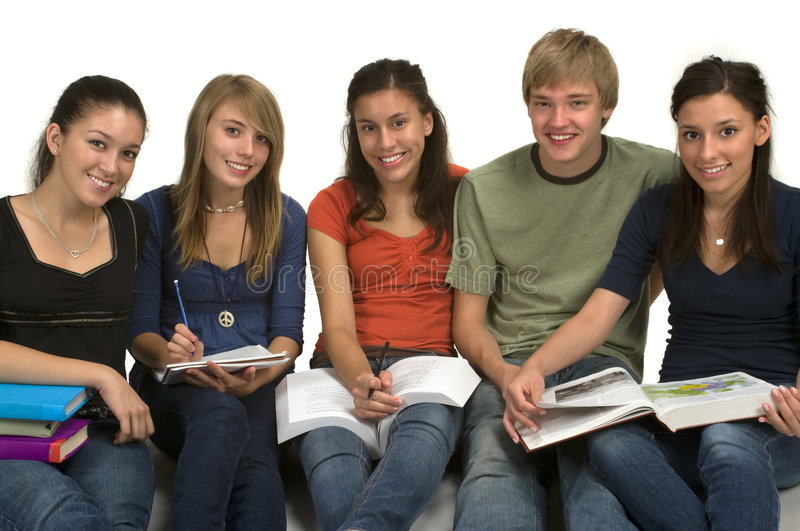 Students. Diverse group of students studying (Caucasian, Hispanic, Middle Eastern
