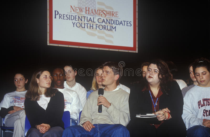 Students address speakers. At the New Hampshire Presidential Candidates Youth Forum, January 2000 royalty free stock photos