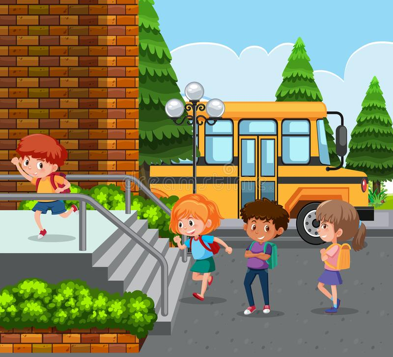Students arrive to school by bus. Illustration royalty free illustration