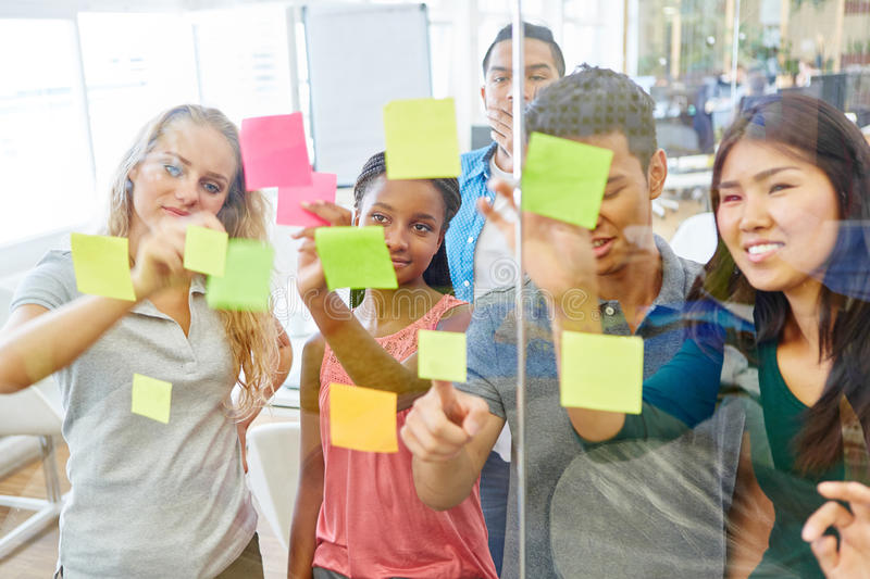 Students as creative founders brainstorming royalty free stock photography