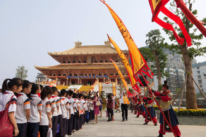 Students attended ceremony at Confucius temple stock images