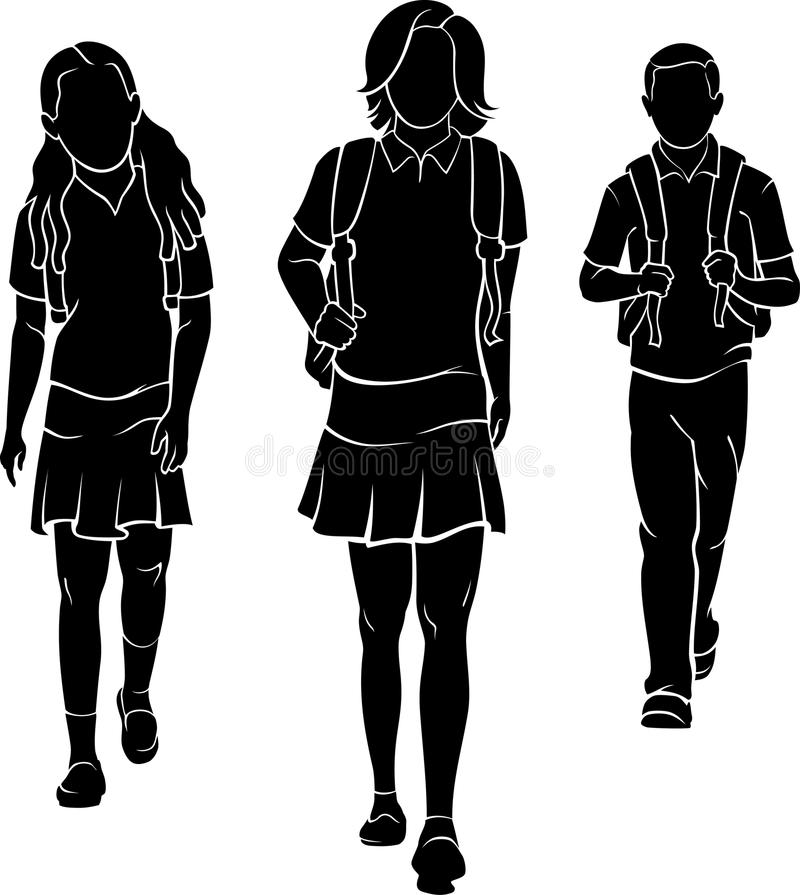 Students with Backpack. Three young person silhouette walking, isolated on white background royalty free illustration