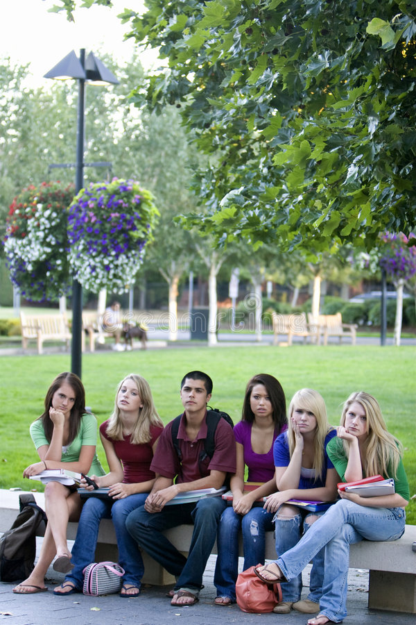 Students on a Bench royalty free stock photography