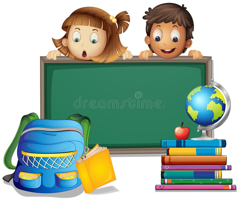 Students and board vector illustration