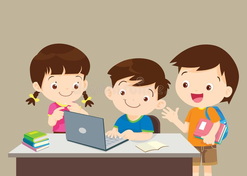 Students boy and girl sitting in front of chockboard vector illustration