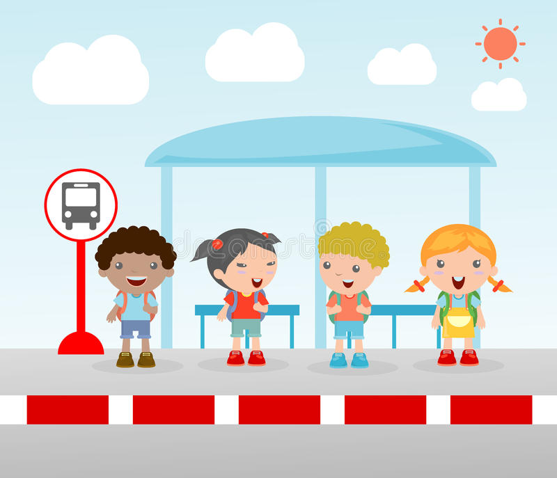 Students at the bus stop, A vector illustration of little children waiting at a bus stop, Waiting at Bus Stop, Vector Illustration royalty free illustration