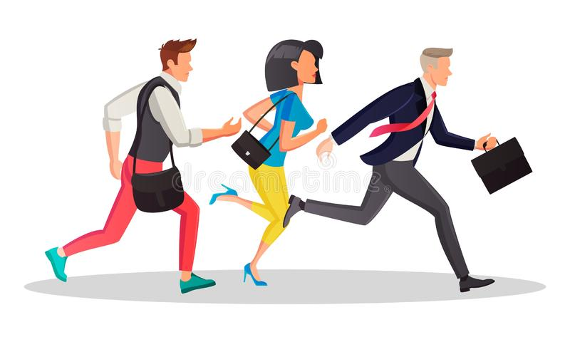 Students and business people running in the same direction to work, meeting in morning. royalty free illustration