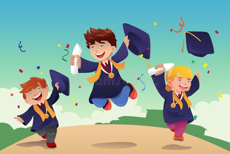 Students celebrating graduation vector illustration