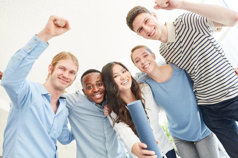 Students celebration on successful completion stock images