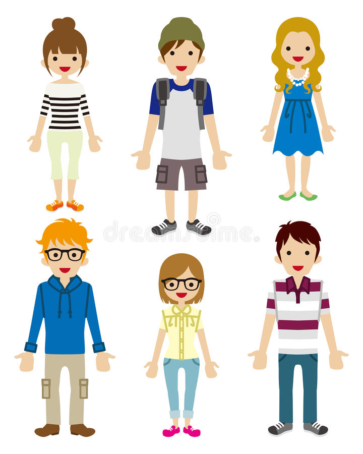 Students Character set vector illustration