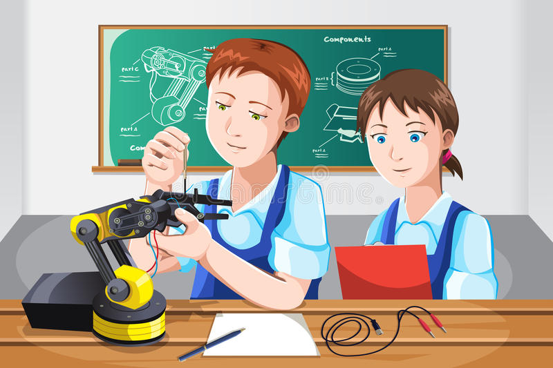 Students in class. A vector illustration of students building a robot in class vector illustration