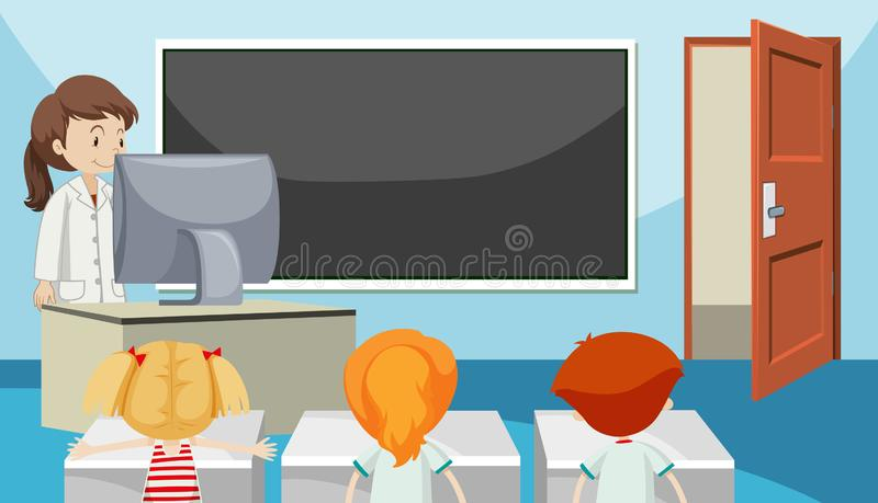 Students in class room stock illustration