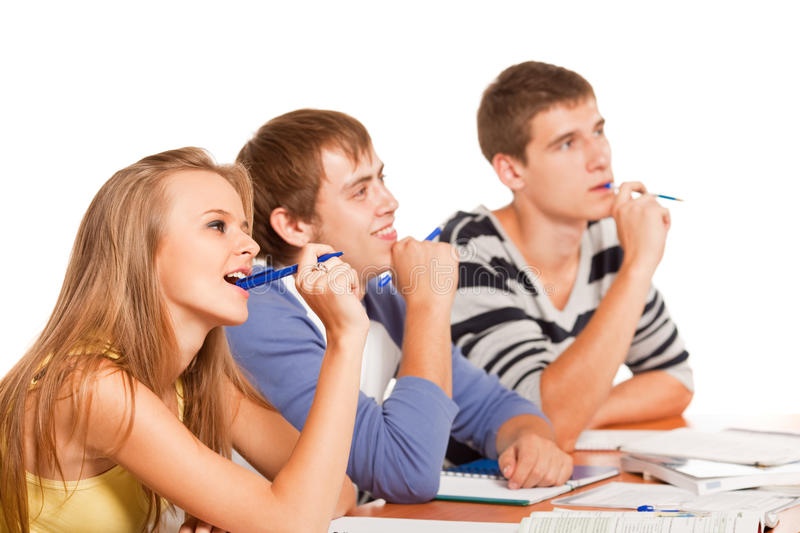 Download Students in classroom stock image. Image of three, university - 12284535