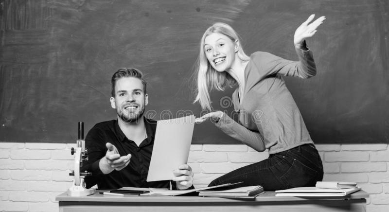 Students in classroom chalkboard background. Education concept. ertificate proves successfully passed university. Entrance exam. College entrance exam. Prepare royalty free stock photography