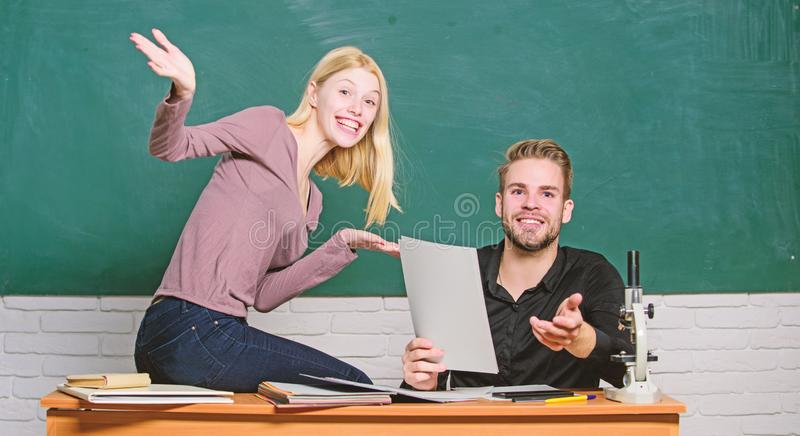 Students in classroom chalkboard background. Education concept. ertificate proves successfully passed university. Entrance exam. College entrance exam. Prepare royalty free stock image