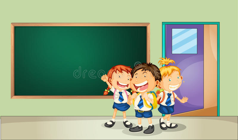 Students and classroom vector illustration