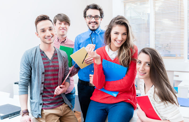 Students in College or university learning together stock photography