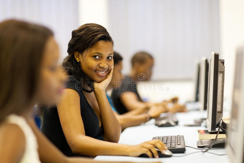 Download Students computer room stock photo. Image of black, happy - 29039446