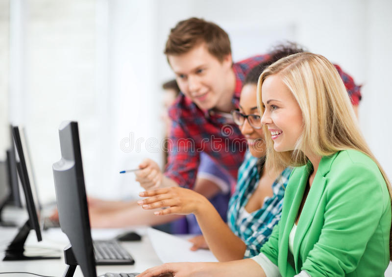 Download Students With Computer Studying At School Stock Image - Image: 33080589