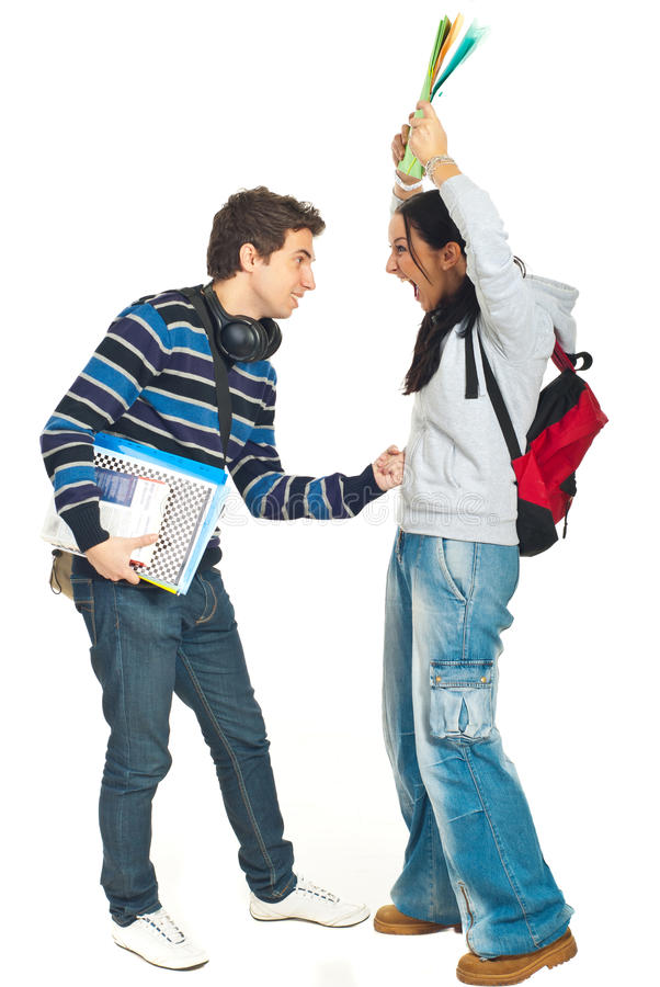 Download Students couple fight stock photo. Image of casual, full - 17770652