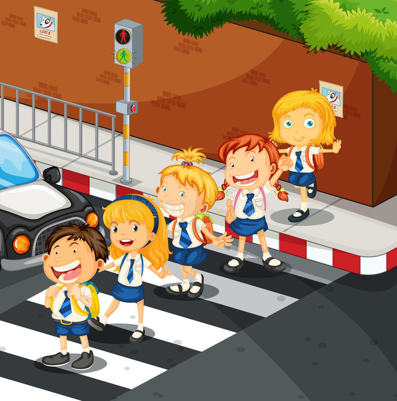 Students crossing the road stock illustration