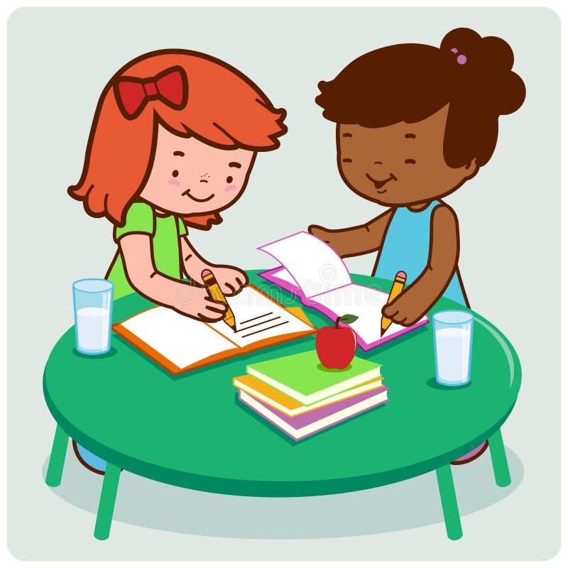 Students doing homework. Two girls young classmates doing their homework stock illustration