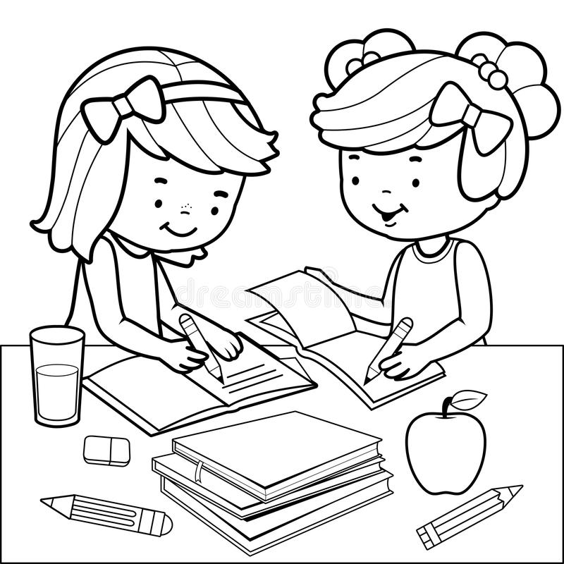 school homework coloring pages | Students Doing Homework. Black And White Coloring Book ...