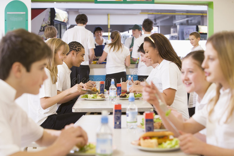 Download Students Eating In The School Cafeteria Stock Image - Image: 6081301