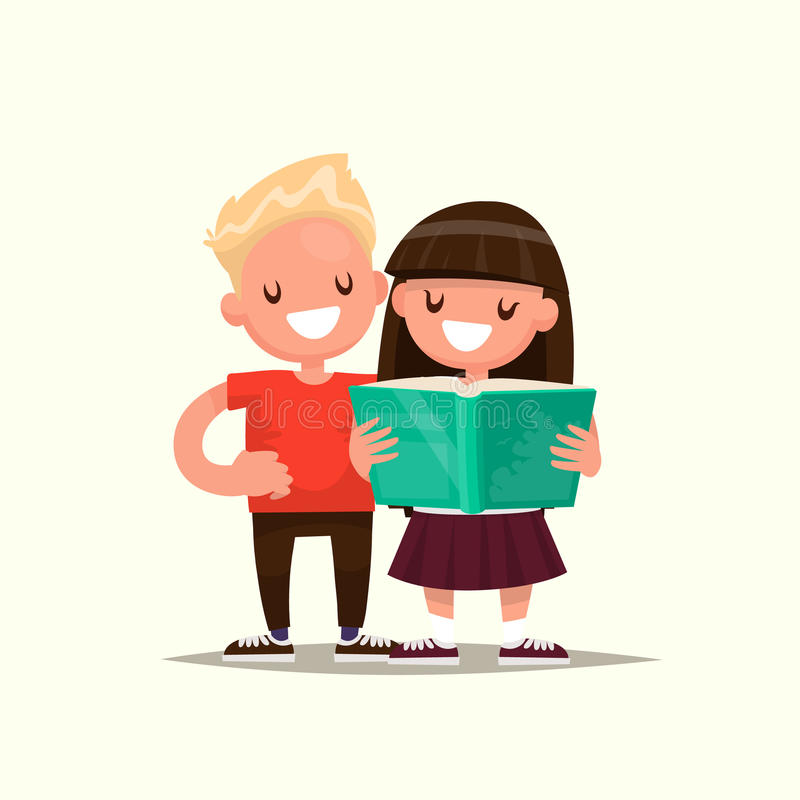 Students Elementary school. Schoolboy and Schoolgirl are reading royalty free illustration